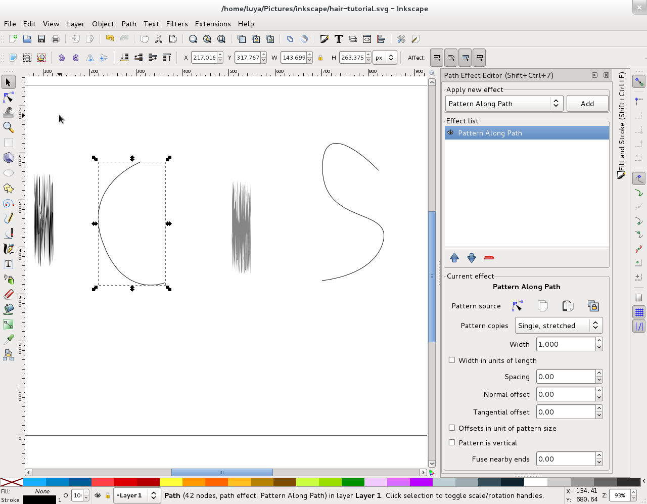 Drawing hair with Inkscape