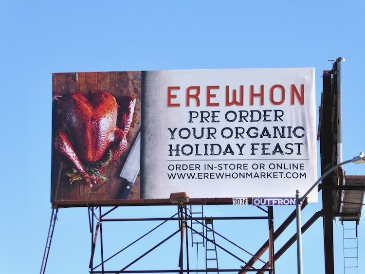 Erewhon organic holiday feast billboard