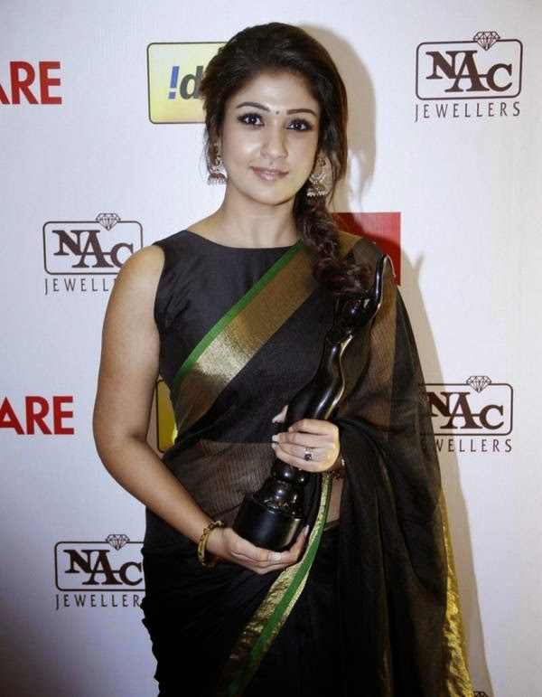 Actress Nayantara in black saree at 61st South Filmfare ...