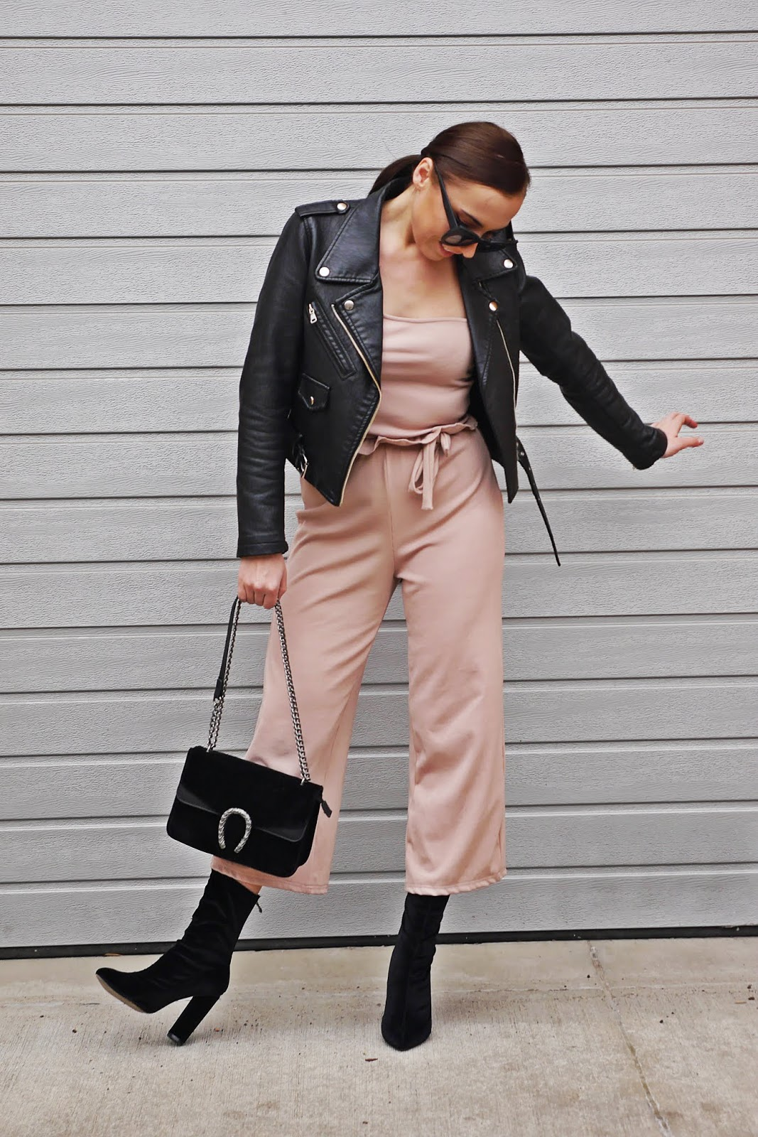 beige pants biker jacket socks shoes karyn fashion blogger