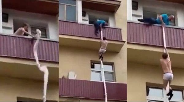 Man tries escaping through window after being caught with another man's wife (Video)