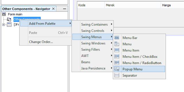 1 - Tutorial Java - Membuat Menu Popup dan Hide/Show Kolom Pada Jtable