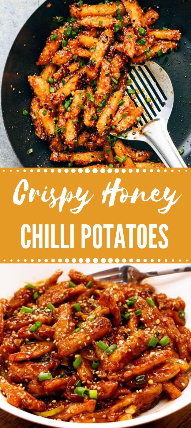 Crispy Honey Chilli Potatoes #chilli #vegetarian #honey #potato #breakfast