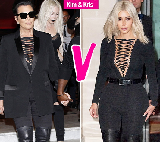 kris jenner kim k same outfit