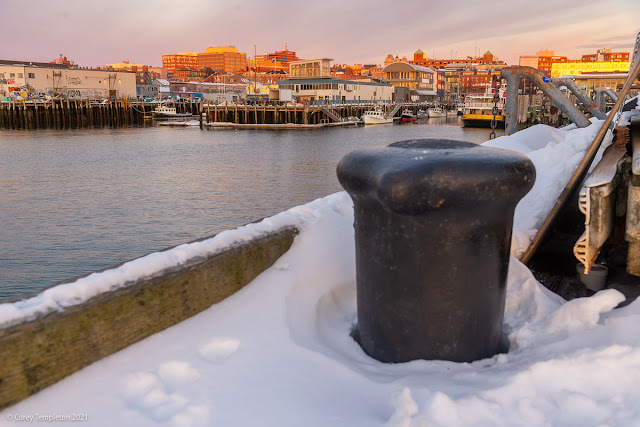 Portland, Maine USA Photo by Corey Templeton February 2021 Maine State Pier cold morning.