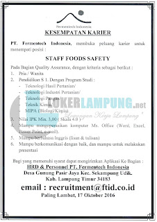 Bursa Kerja Lampung di PT. Fermentech Indonesia Terbaru September 2016