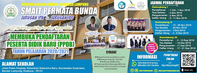 PENGUMUMAN HASIL PPDB SMAIT PERMATA BUNDA TP. 2020-2021 Gelombang 1