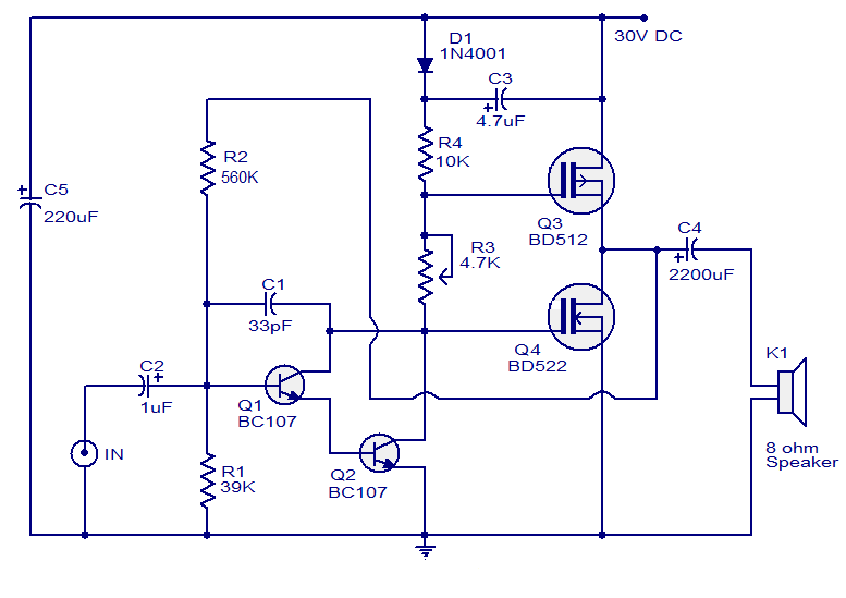 Single Subwoofer Wiring Diagram 1988 Toyota Pickup Starter Schematic Diagram: 10 Watts Mosfet Audio Amplifier