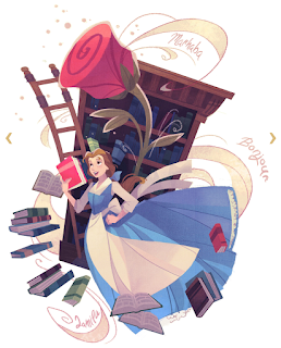 Artistic illustration of Belle in her library