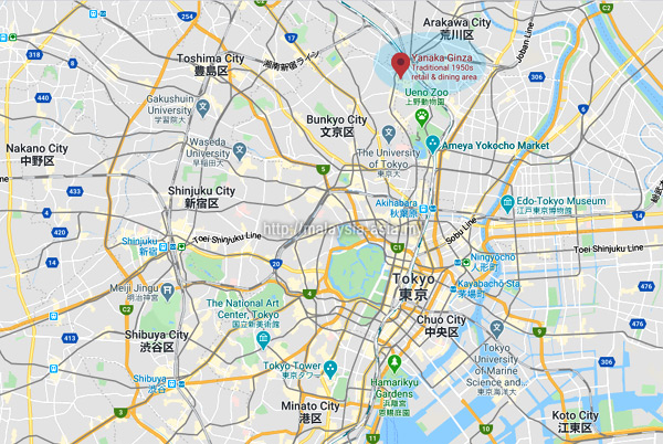 Location of Yanaka Ginza