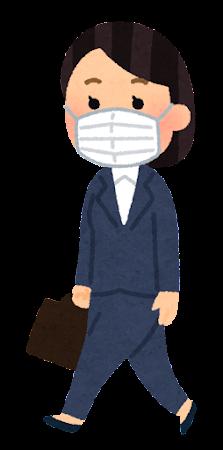 マスクを付けて歩く会社員のイラスト(スーツの女性)
