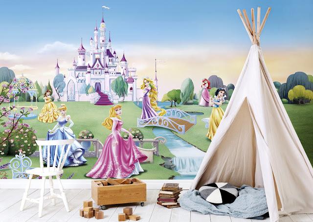 Fantasia tapetti Disney Prinsessa Tapetti Lapset Valokuvatapetti Lapsia Prinsessoja Tyttö huone