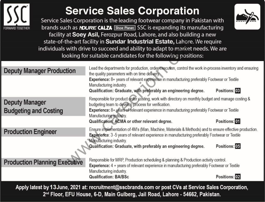 recruitment@sscbrands.com - Service Sales Corporation Pvt Ltd SSC Jobs 2021 in Pakistan