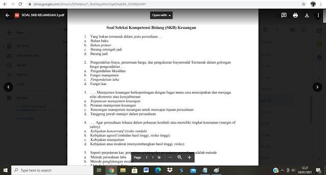 Contoh soal tes P3K Bidang Keuangan 2 dan Kunci Jawaban
