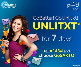 Globe Non Stop GO UNLITXT only 49 pesos for 7 days unlimited texting