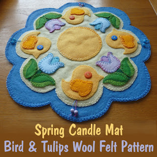 Needles-n-Pins Stitcheries: Wool Spring Candle Mat Tutorial