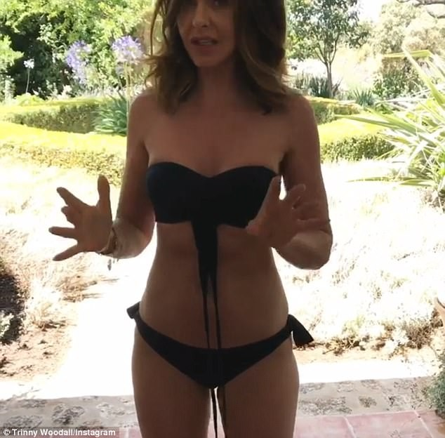 Trinny Woodall Flaunts Her Abs In a Tiny Black Bikini