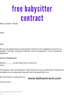 Sample babysitter contract