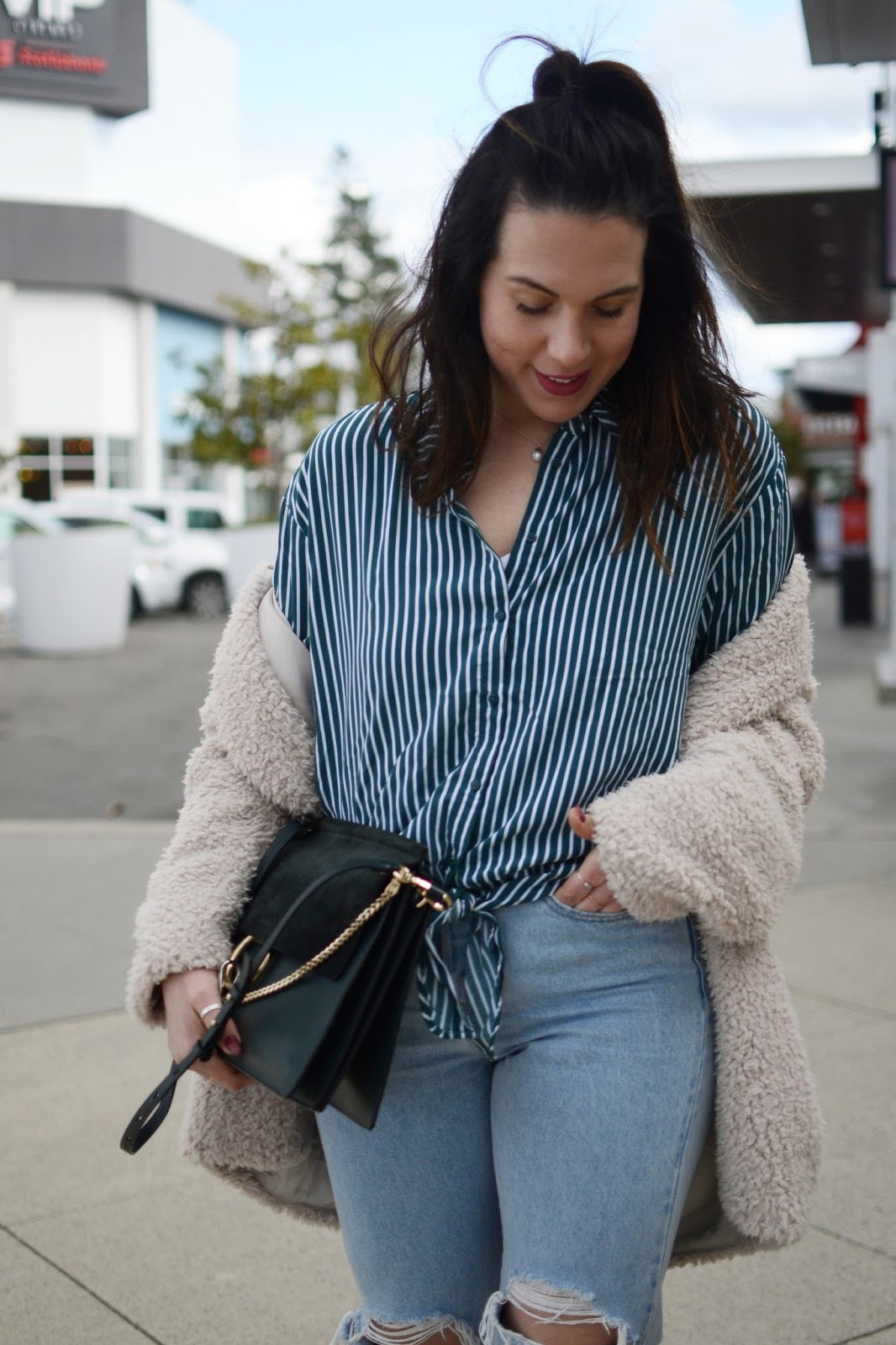 Dynamite striped tie blouse outfit levis wedgie jeans vancouver fashion blogger aleesha harris