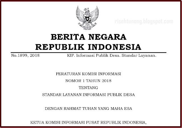 Peraturan Komisi Informasi Nomor 1 Tahun 2018 Tentang Standar Layanan Informasi Publik Desa.