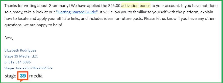 Grammarly affiliate activation bonus