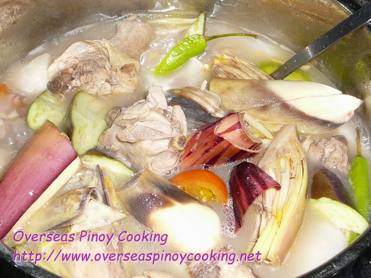 Sinigang na Manok with Banana Blossom - Cooking Procedure