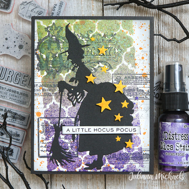 Hocus Pocus Halloween Card by Juliana Michaels featuring Tim Holtz Ranger Ink Mica Stain