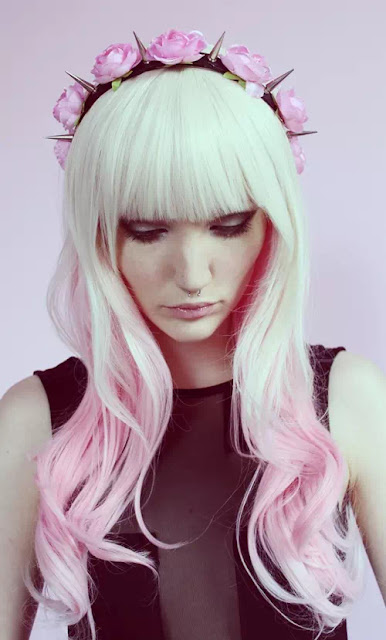pink and white ombre hair