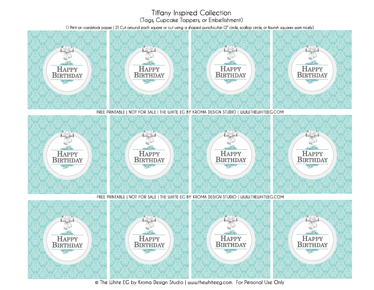 bb39a7ae9 If you like this Tiffany Collection printable and would like to buy the  full sets, whether they are for a Birthday, Bridal Shower, Baby Shower, ...