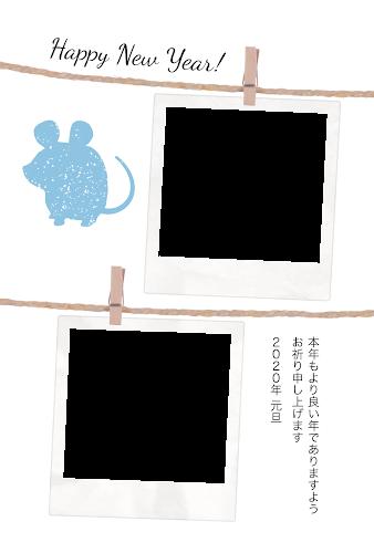 二枚のポラロイドの写真フレームとねずみのガーリー年賀状(子年・写真フレーム)