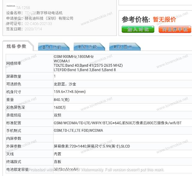 Nokia TA-1258 Specification revealed by TENAA
