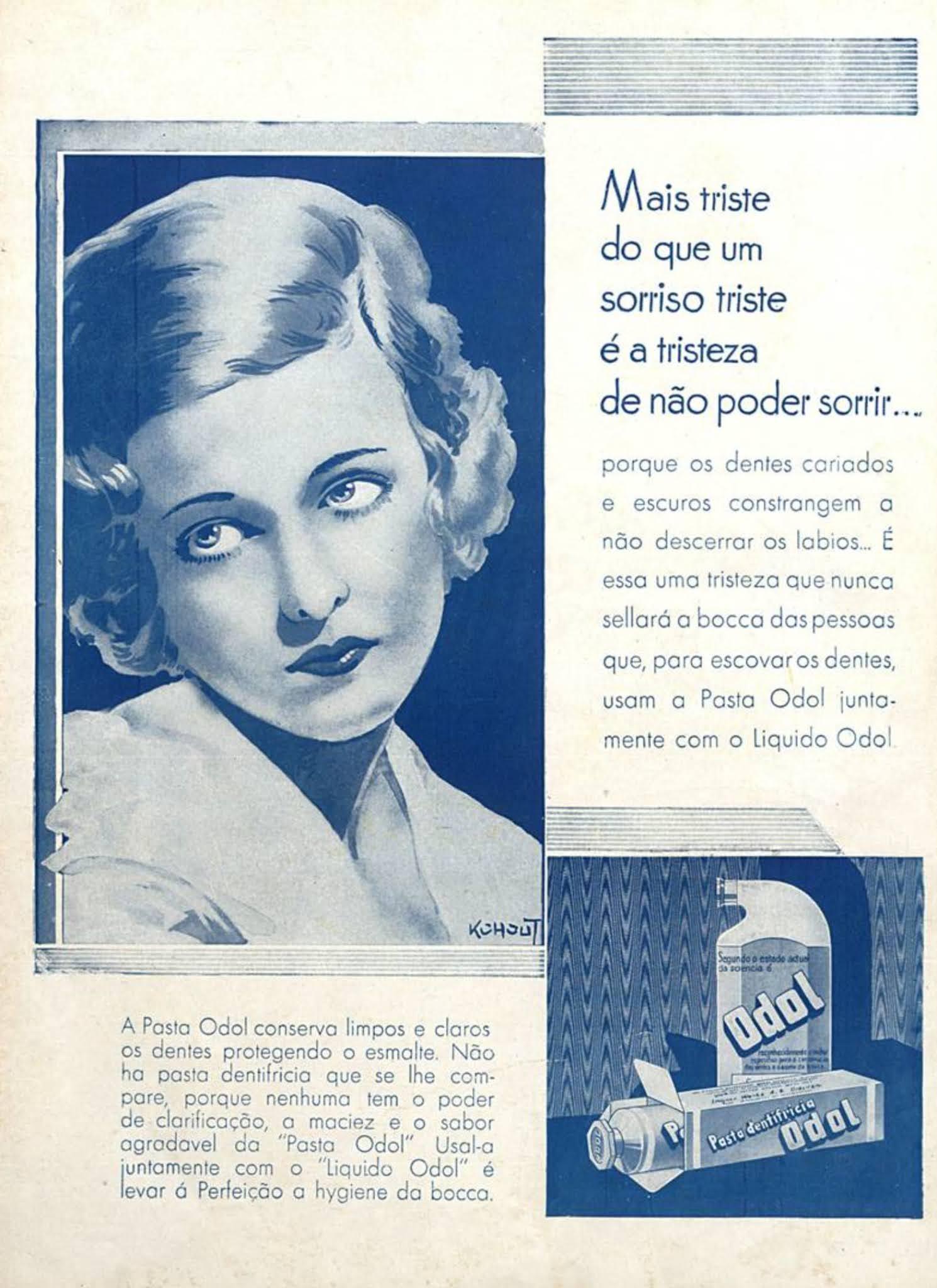 Anúncio antigo do Creme Dental Odor veiculado em 1932
