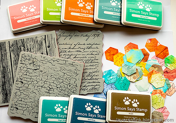 Layers of ink - Honeycomb Patchwork Tutorial by Anna-Karin Evaldsson. Stamp with SSS background stamps.