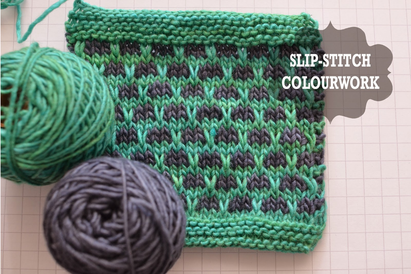 a clear slip stitch colourwork tutorial for mosaic knitting