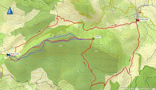 Comparación de las dos rutas del Terril