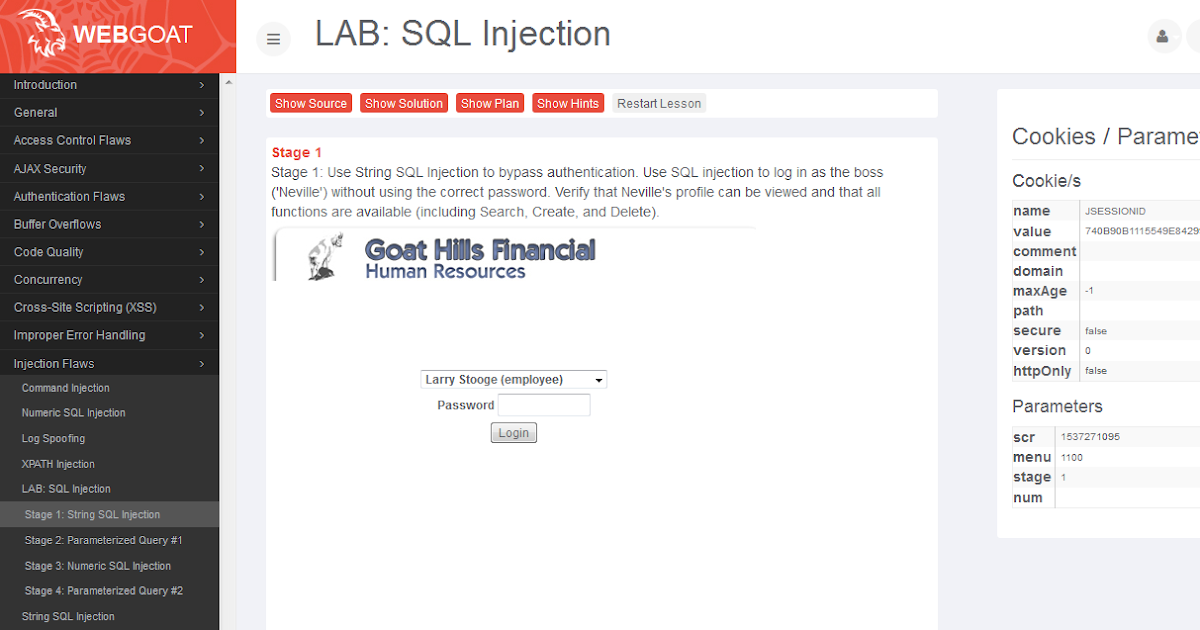 SQL-Injection Stage I - String SQL injection ~ Webgoat SQL Injection