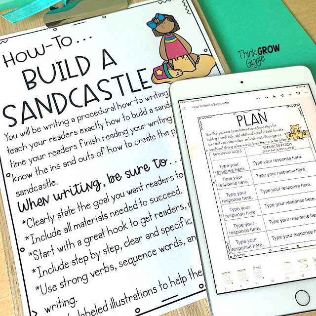 how to build a sand castle writing activity
