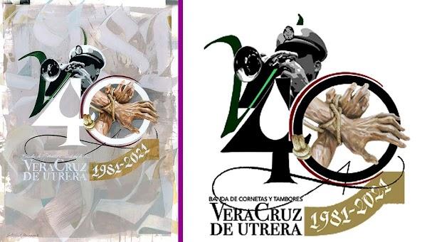 La Banda de Cornetas y Tambores de la Vera-Cruz de Utrera presenta el logotipo de su 40 aniversario