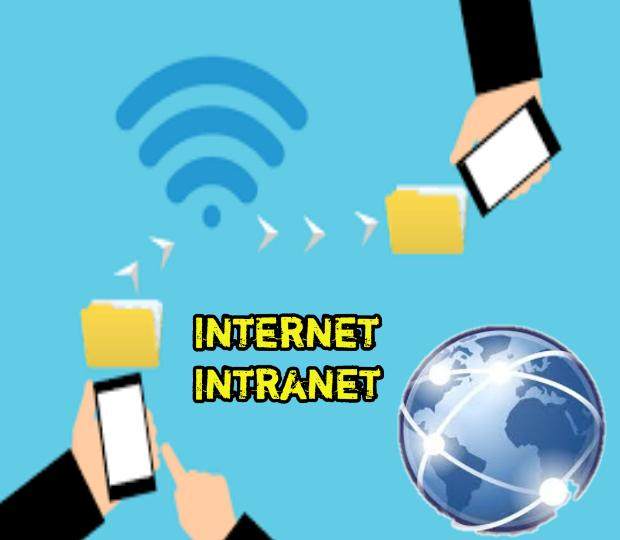 What is the differences between Internet, Intranet and benefits
