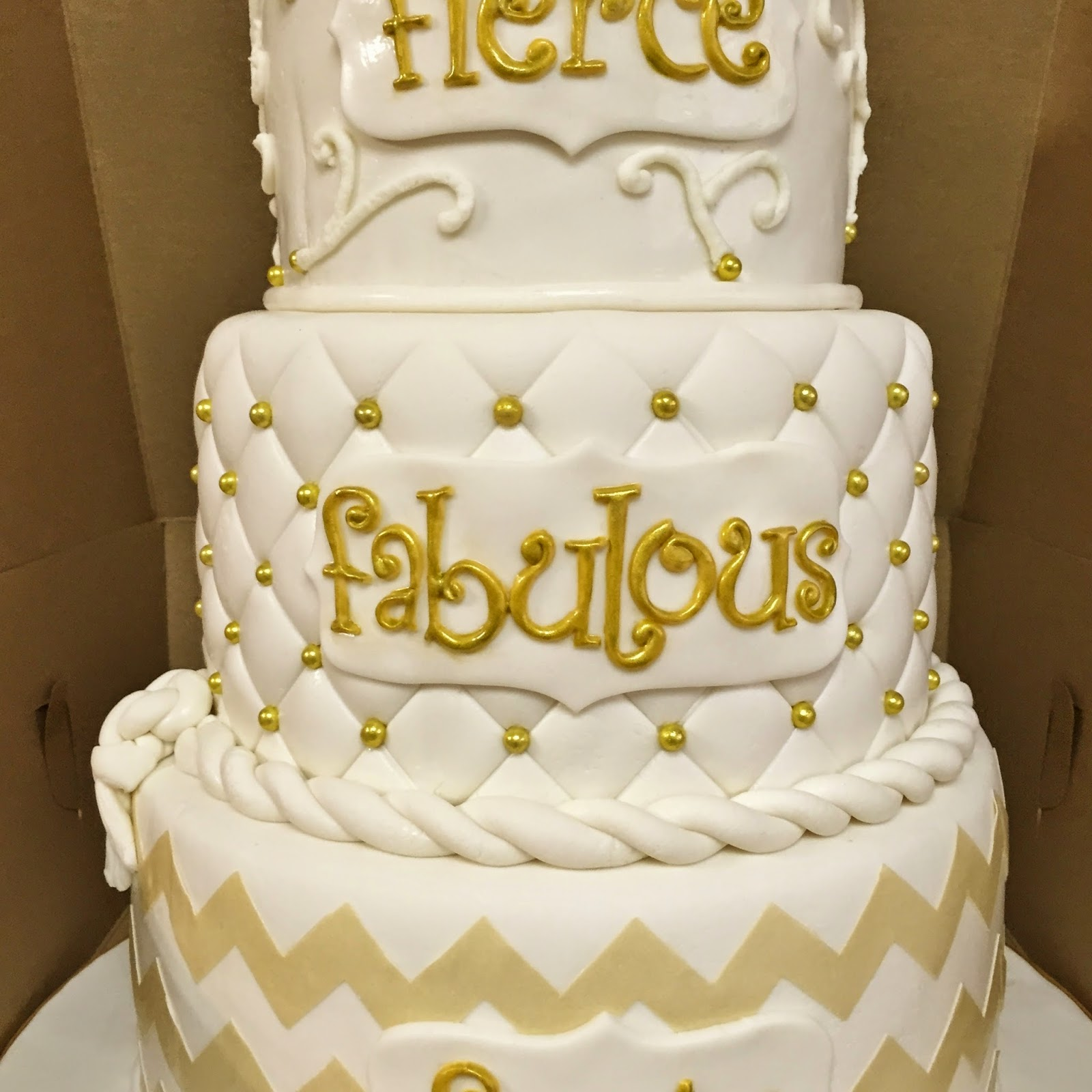 Photos Of White Birthday Cake : Cakes by Mindy: Gold and White 40th Birthday Cake 6
