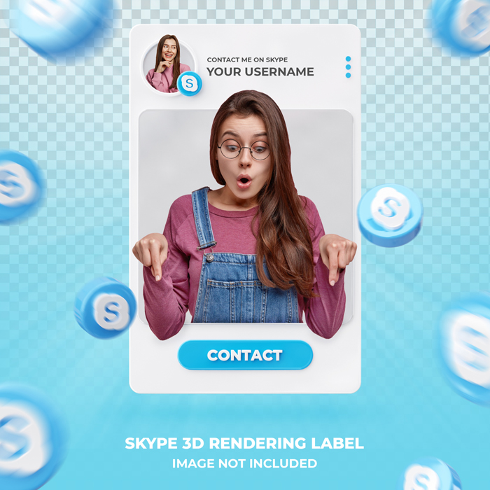 Banner Icon Profile On skype 3D Rendering Label Template