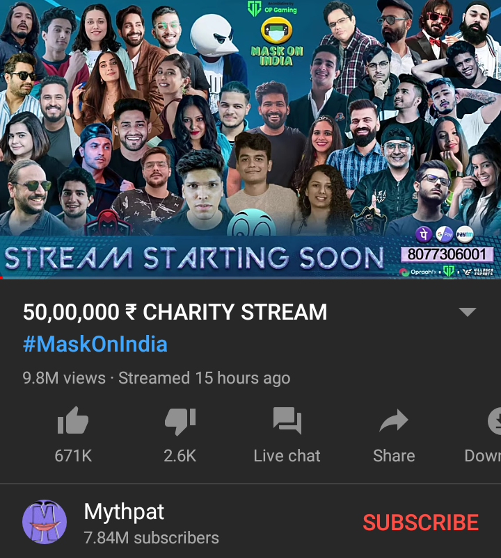 Indian YouTube creators raised 50 lakh Rs to help people in Covid-19 situation