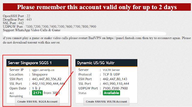 Membuat Akun SSH Gratis di FastSSH.com server singapure