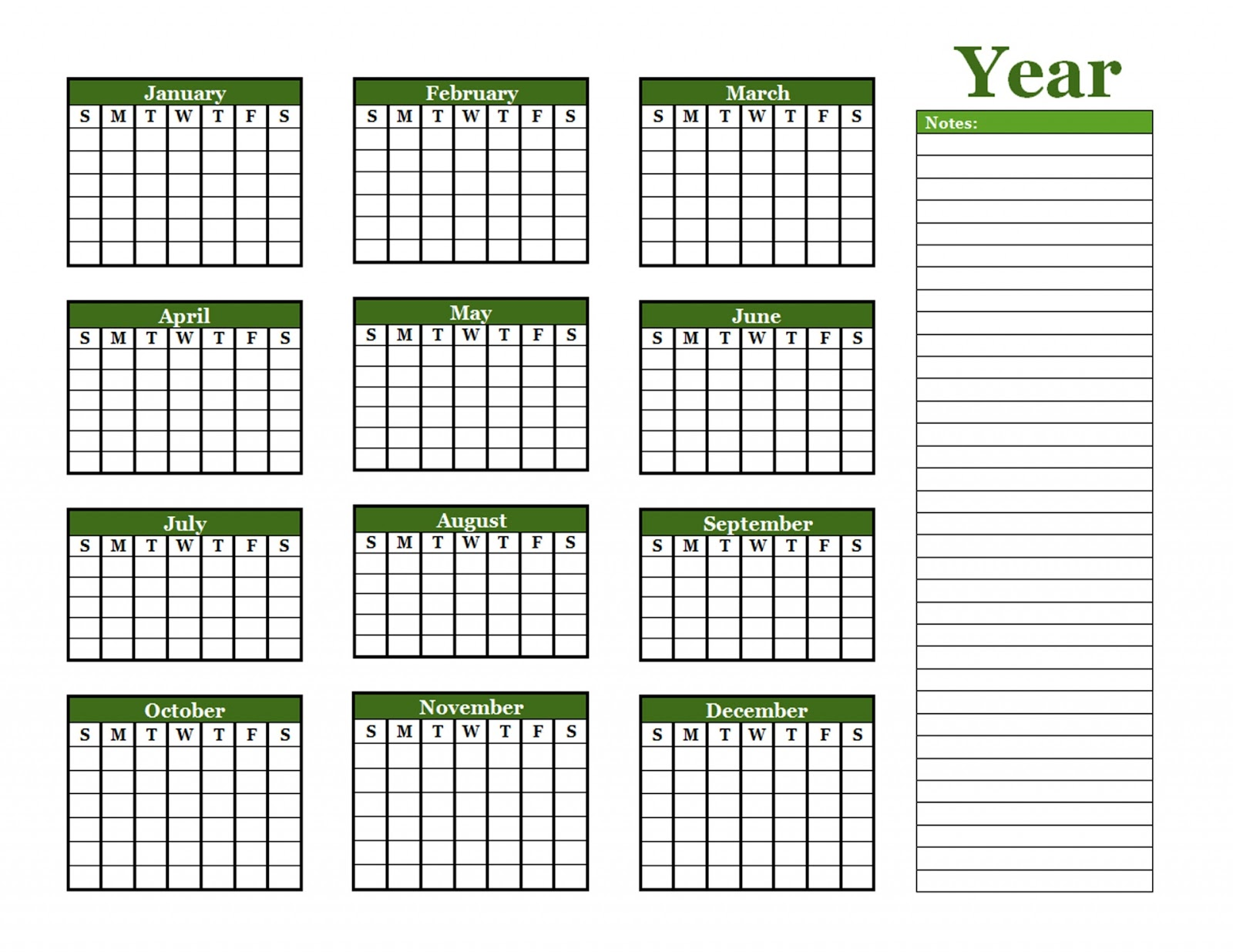 Blank Year Round Calendar : Blank yearly calendar calendars kalendar