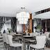 Sala de jantar cinza e preta com paredes revestidas de madeira e mármore nero marquina!