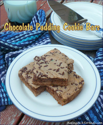 Chocolate Pudding Cookie Bars are lower in fat and easy to make, using a few cheats. Mix, bake, cool and slice, it's that quick. | Recipe developed by www.BakingInATornado.com | #recipe #chocolate