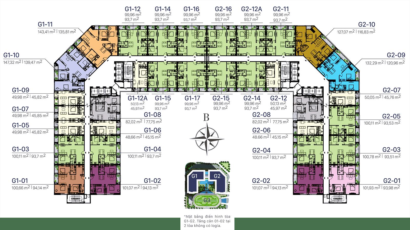 Mặt bằng điển hình toà G1 - G2: Tầng 9 & 29 và tầng 21 - 28