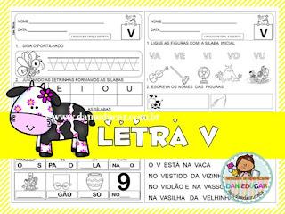 atividades do alfabeto, Letra V, Atividades de alfabetização,