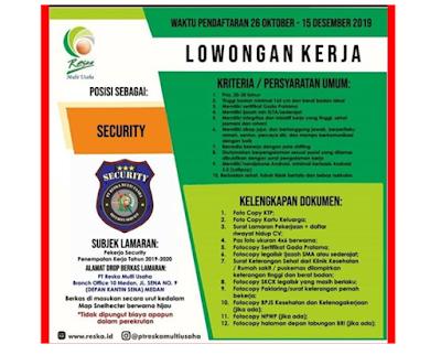 Rekrutmen Kerja Medan SMA/SMK November 2019 BUMN PT Reska Multi Usaha