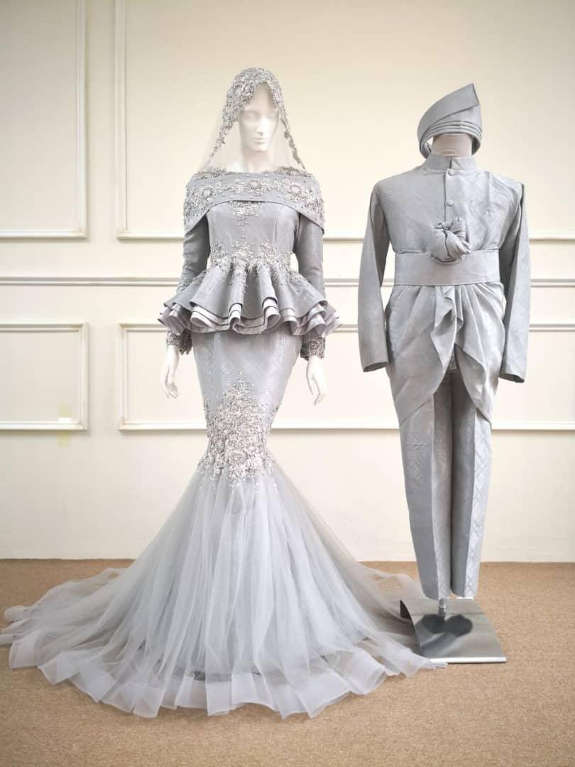 Baju Pengantin Murah: Paplum Full Songket Grey